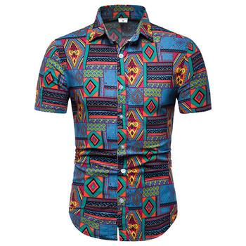 Męskie bawełniane lniana sukienka koszula 2020 moda w stylu Vintage afrykańskie etniczne druku koszula mężczyźni Slim Fit hawajskie koszule z krótkim rękawem Camisas tanie i dobre opinie Liva girl COTTON Linen Casual Shirts Skręcić w dół kołnierz Pojedyncze piersi REGULAR Men Shirt Suknem Na co dzień