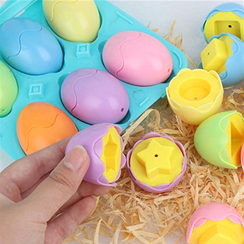 Обучающие математические игрушки Монтессори, 12 шт., пластиковые винты в форме умных яиц, подходящая 3D-головоломка, детские развивающие игру...