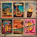 Дорожная сумка для куба Гавана, холст для живописи Винтаж настенные картины из крафт-бумаги Плакаты покрытием наклейки на стену, украшение ...
