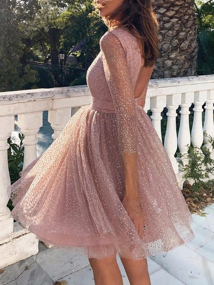 2019 Autumn Women Elegant Casual Mini Party Dress Female Backless Dress A line Glitter Sequins Sheer Mesh Overlay Pleated Dress in Dresses from Women 39 s Clothing
