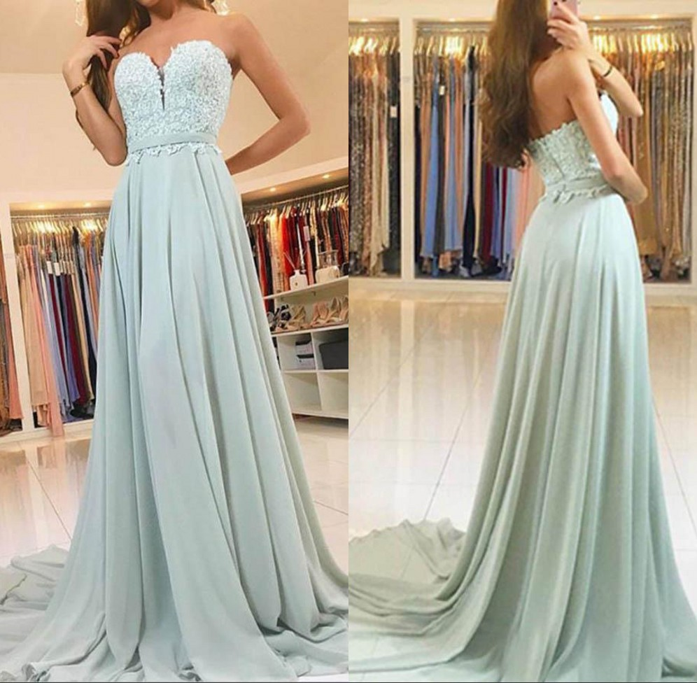 vestidos de baile Sweetheart Mint Green Long   Prom     Dresses   2020 A Line Lace Applique Chiffon Formal Robe De Soiree