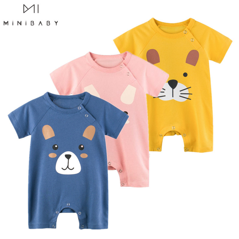 Newborn Baby Jumpsuit Pure Cotton Baby Clothes Baby Boy Girls Short Sleeve Summer Cartoon Cute Clothes Baby Rompers Kids Infant