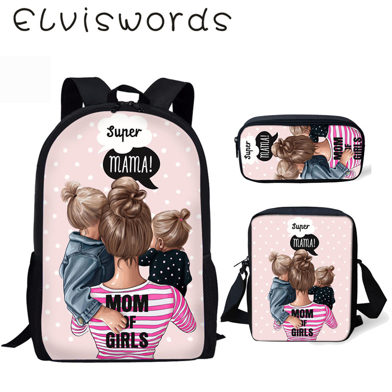 ELVISWORDS Children's School Backpack Kawaii Super Mama Girls Pattern School Book Bags Cartoon 3PCs Set Students Bags Harajuku