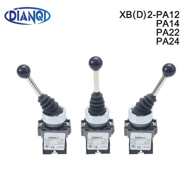 XB2 PA12 xd2 pa12 pa14 2NO 2position 2no2nc 4position Cross push button switch Latching Locking MomentaryJoystick SwitchPA22PA24