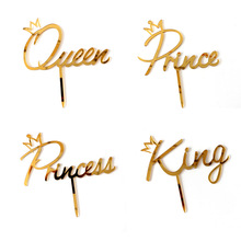 Cake-Topper Prince Happy-Birthday King Wedding-Cake Acrylic Gold Queen Mirror Party
