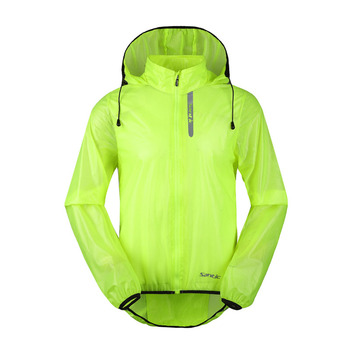 Santic Men Cycling Windproof Jackets Hooded Skin Coat Sun-protective Anti-splashing Water Apple Green Light Cycling MC7008V