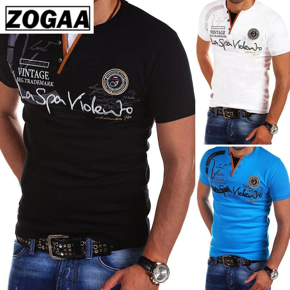 ZOGAA 2019 Hot Sale New Brand Mens Summer Short Shirt Cotton Casual Letter Print Sleeve T-Shirt Men Size S- 3XL
