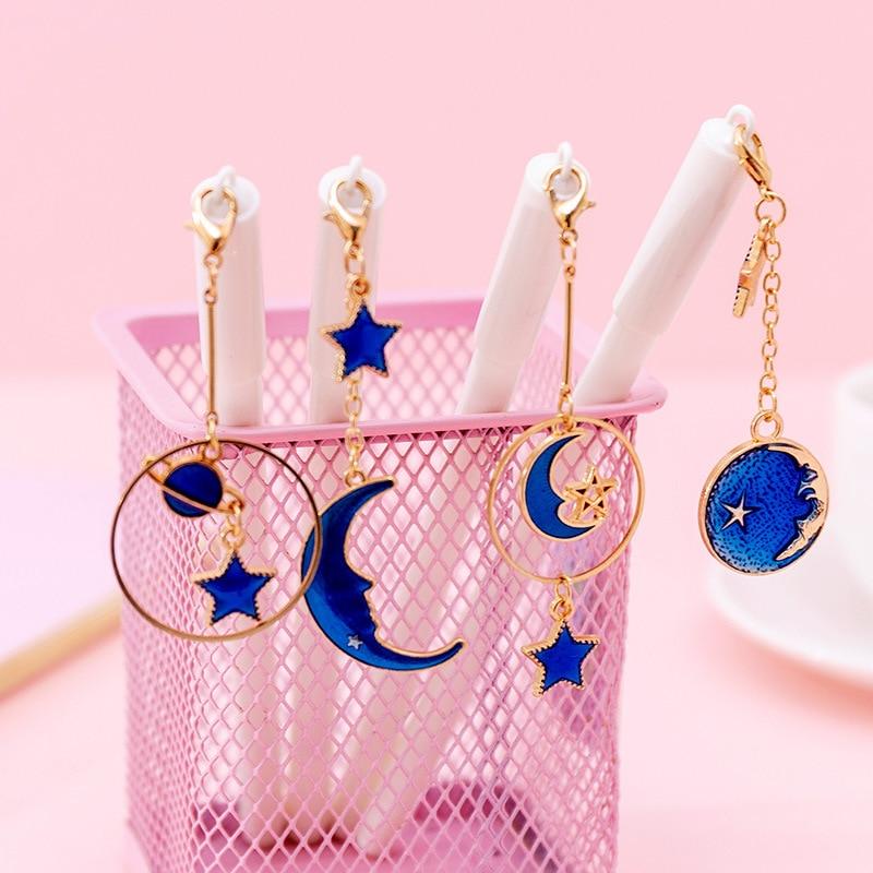 Lovely Cute Creative Star-Moon Pendant Gel Pen Signature Pen Escolar Papelaria School Office Supply Promotional Gift