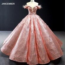 J66936 jancember vestidos de quinceañera 2019 el hombro bola vestido de encaje de vuelta con lentejuelas vestido de organza de платье мятного цвета