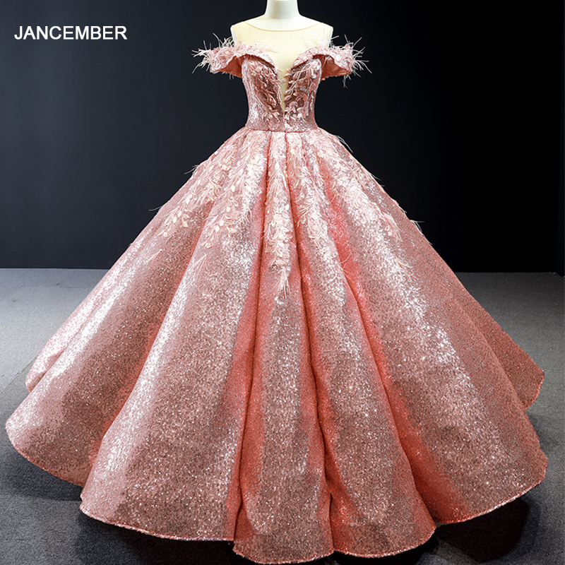 J66936 jancember vestidos quinceanera 2019 off the shoulder ball gown lace up back sequined organza dress платье мятного цветаQuinceanera Dresses   -