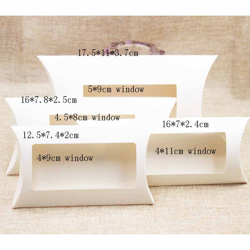 10pc 16*7*2.4cm brown/white/black cardboard pillow window box with clear pvc for proucts/gifts/favors/display packing show 13