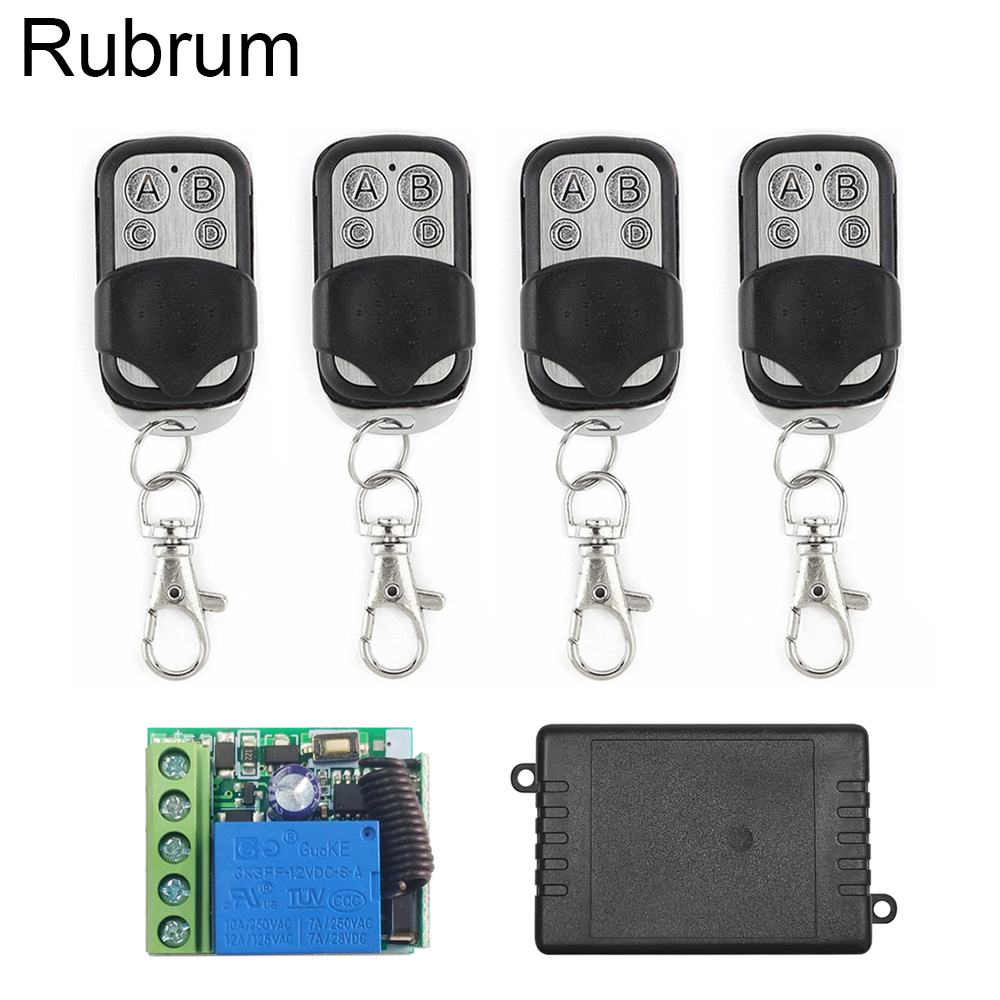 Rubrum 433Mhz Universal RF Relay Wireless <font><b>Remote</b></font> Control Switch And 433 MHz DC 12V 1Ch <font><b>Receiver</b></font> <font><b>Module</b></font> For Garage Gate Door <font><b>Key</b></font> image