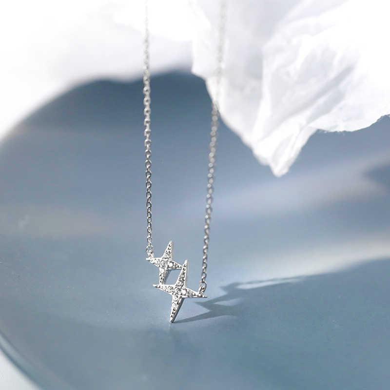 Collares de Estrella de Plata colgantes 925 cuatro estrellas de esquina brillante collar de circón para mujer moda mujer chica Festival regalo
