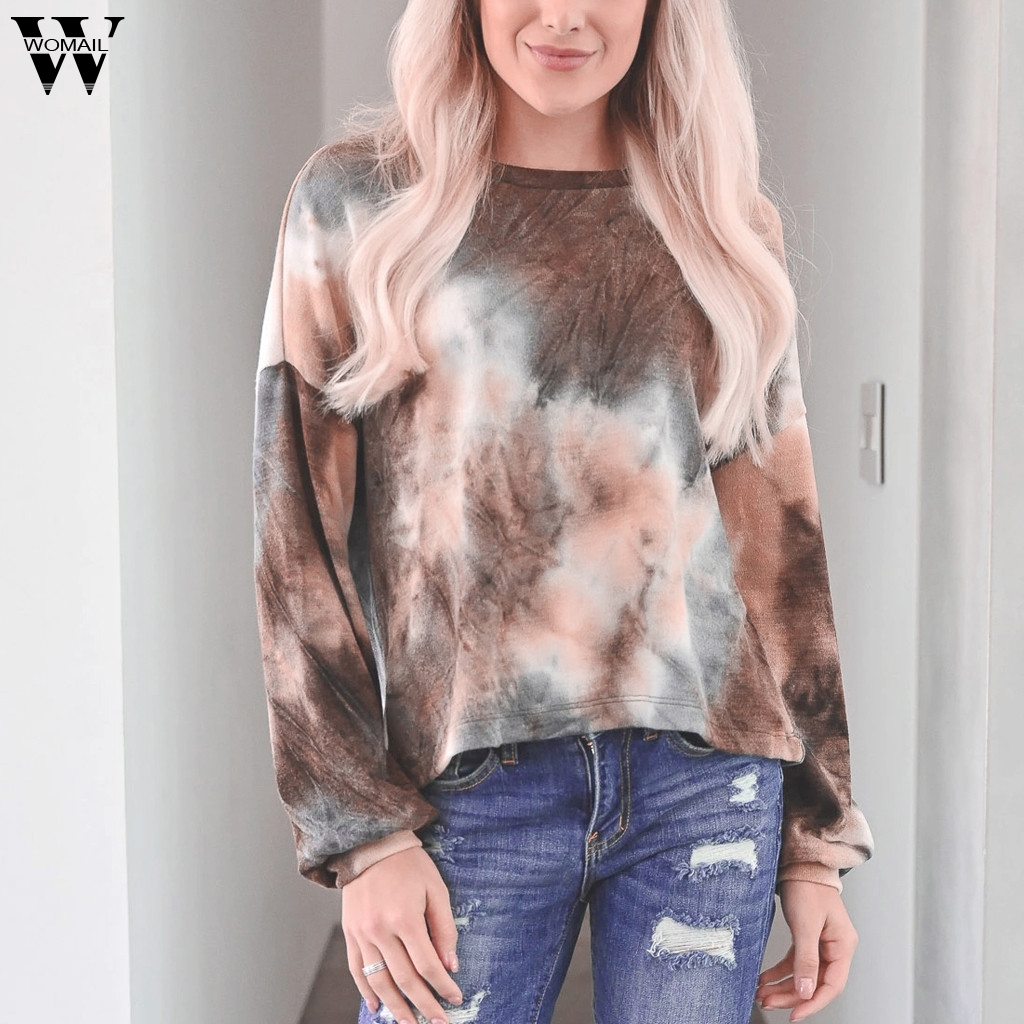 Womail Casual Khaki Women's Pullovers Gradation Printing Easy Sweatshirt O-neck Long Sleeves Lantern Sleeve Womens Sweatshirt