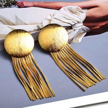 Gold Metal Chain Tassel Earrings  4