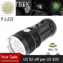 Waterproof Black  LED Flashlight 2700LM  9x XML T6 LED 3 Mode Outdoor Flash Lamp Torch for Hunting Camping 5 mode 16mm 3 7v led driver for cree 10w xml t6 p7 xml t5 led light torch flash light