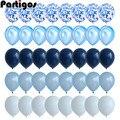 Набор голубых воздушных шаров из 40 предметов, воздушные шары из агата и мрамора с серебряными конфетти, декор для свадьбы, Baby Shower, выпускного...