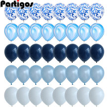 40 Pcs Blue Balloons Set Agate Marble Balloons With Silver Confetti Balloon Wedding Baby Shower Graduation Birthday Party Decor