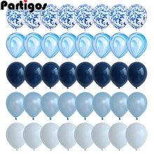 40 Pcs palloncini blu Set palloncini in marmo agata con palloncini coriandoli argento matrimonio Baby Shower laurea decorazioni per feste di compleanno