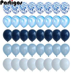 40 шт., набор синих воздушных шаров, Агатовые мраморные шары с серебряным воздушный шар «Конфетти», Свадебный детский душ, украшение для выпу...