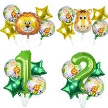 5 шт./компл., Детские воздушные шарики в форме животных, день рождения, джунгли, вечерние, свадебные декорации, Детские шары на день рождения, ...
