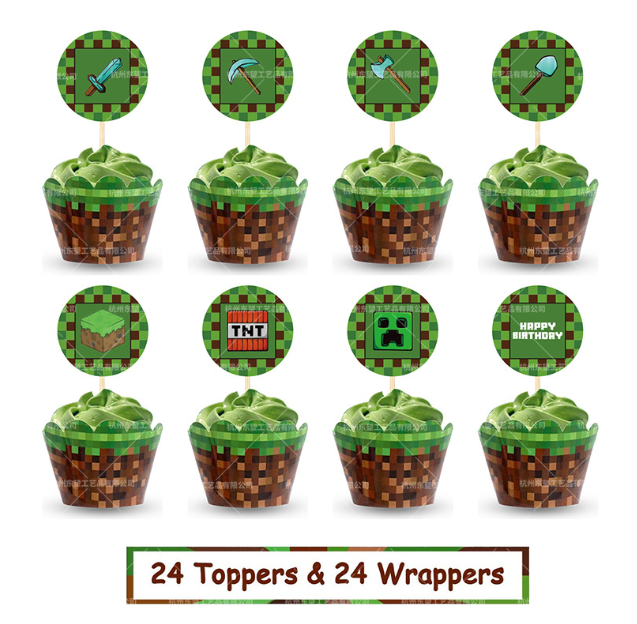Minecraft party supplies Pack Includes Pixels Miner Banner Cake Topper 24 Cupcake Toppers 20 Balloons for Pixel Miner party decoration