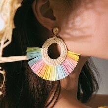 Bohemian Weaving Tassel Earring for Women Colorful Drop Earrings Handmade Cotton Rope Fashion Jewelry 2019