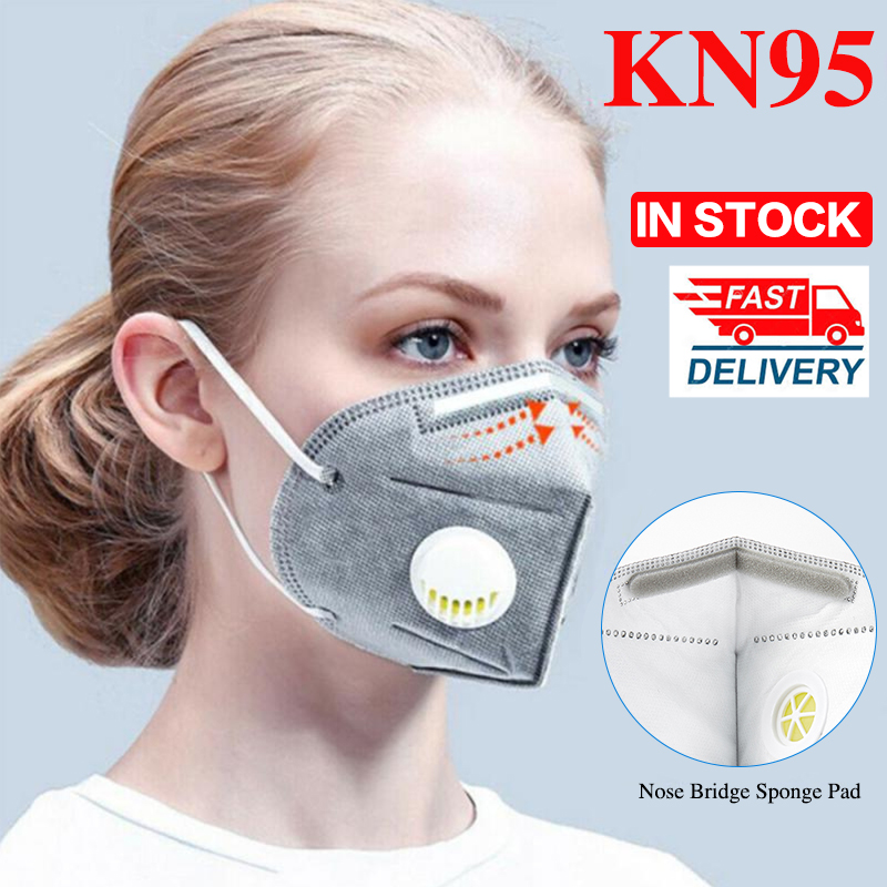 5/10/20PCS Reusable KN95 Masks 6-layer Nonwoven N95 Masks Anti Haze Dust Valved Face Mask 95% Filtration Protection Respirator