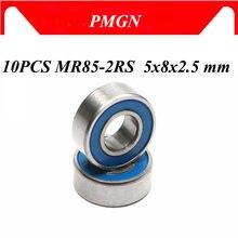 10 pces ABEC-5 MR85-2RS mr85 2rs mr85 rs mr85rs 5x8x2.5mm azul borracha selada em miniatura rolamentos de esferas profundos de alta qualidade do sulco