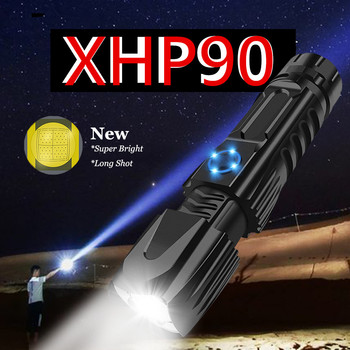 powerful flashlight zoomable XHP90 LED Flashlight USB Rechargeable 26650 Flashlight Torch 5 Modes Lanterna Use 26650 for camping