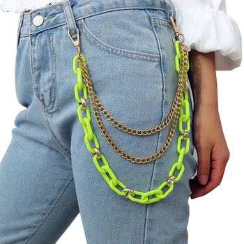 Punk Street Waist Chain Multilayer Male Pants Chain Women Men Fashion Rock Jeans Big Ring Metal Key Chain Accessories