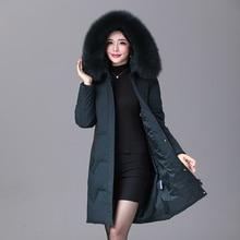 2019 hiver femmes duvet de canard manteau parka longue ultra léger naturel plume réel fourrure de renard de luxe de haute qualité canard doudoune #8929