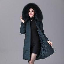 2019 inverno feminino pato para baixo casaco parka longo ultraleve pena natural real pele de raposa luxo alta qualidade pato para baixo jaqueta #8929