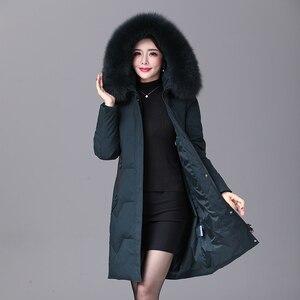 Image 1 - 2019 inverno feminino pato para baixo casaco parka longo ultraleve pena natural real pele de raposa luxo alta qualidade pato para baixo jaqueta #8929