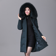 2019 winter Women duck down coat parka long ultralight natural feather Real fox fur luxury high quality duck down jacket #8929