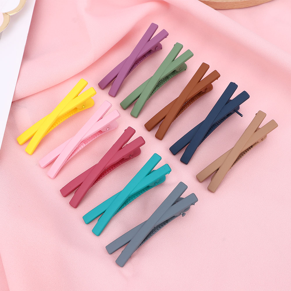 2020 Korean Style Matte Candy Color Cross Hairgrip Ladies Summer Cute  Barrettes Headwear Hair Styling Tool Accessories