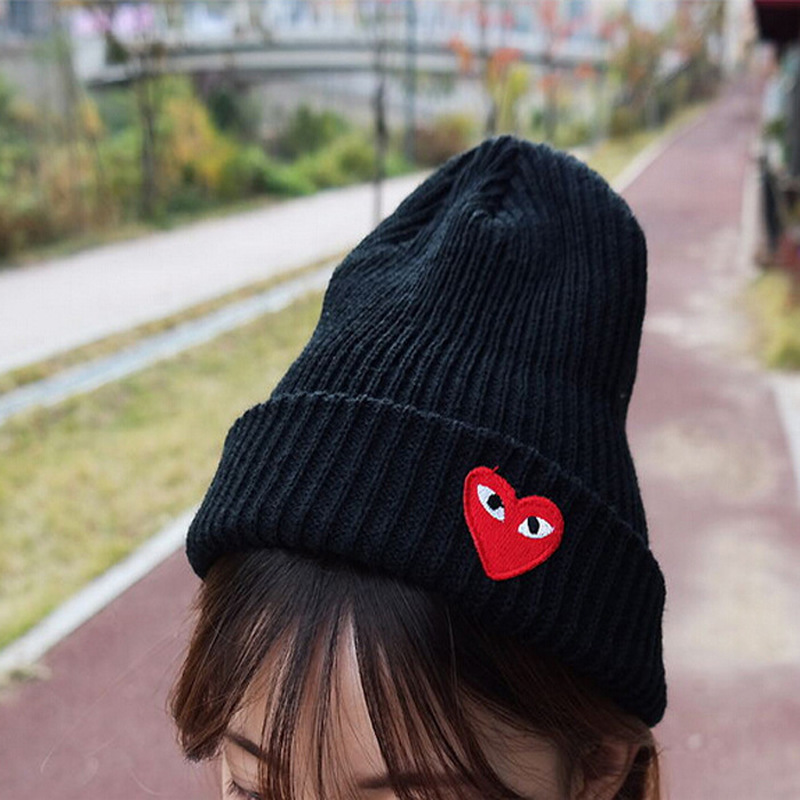 Cartoon Love Heart Pattern Knitting Winter Warm Hats Women Girls Unisex Knitted Soft Beanies Caps Casual Skullies