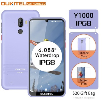 Перейти на Алиэкспресс и купить OUKITEL Y1000 Android 9,0 смартфон 6,08 дюйм19,5: 9 MT6580P 2 Гб ОЗУ 32 Гб ПЗУ 3600 мАч отпечаток пальца мобильный телефон
