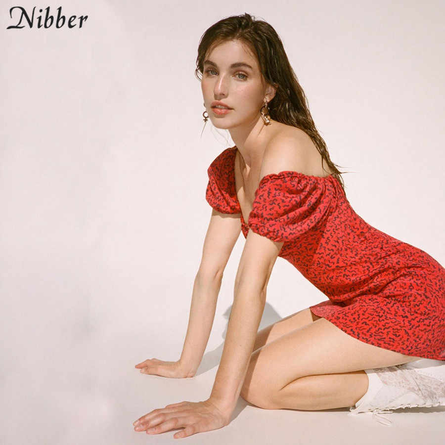 Nibber kpop slim שמלות לאישה 2020 קיץ חם אסתטית הדפסת streetwear mujer מקרית המפלגה מועדון ללבוש אדום מיני שמלות