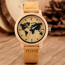 Carving World Map Wooden Watch Men Fashion Bamboo Wood