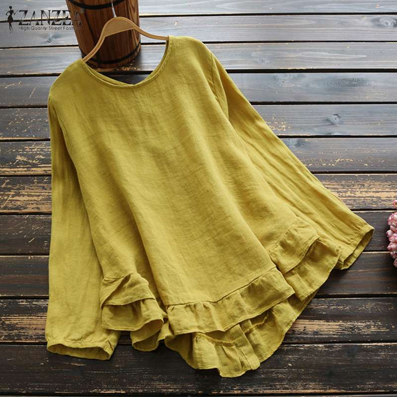 ZANZEA Spring Ruffles Blouse Plus Size Women Casual Solid Long Sleeve Vintage Coton Work Tunic Tops Shirts Female Blusas Chemise