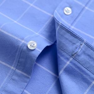 Image 4 - Moda masculina 100% algodão oxford xadrez listrado camisas único remendo bolso manga longa padrão ajuste outerwear camisa de trabalho casual
