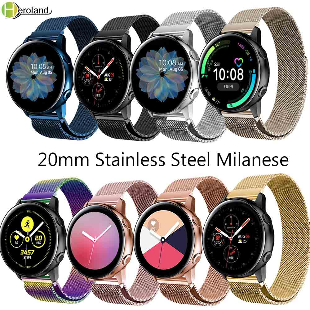 20mm Watchstrap Stainless Steel Milanese For Samsung Galaxy Watch Active2 40mm 44MM Magnetic Smart Wrist Band Strap Bracelet New