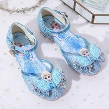 Disney Frozen Girls High Heel Shoes Princess Dance Shoes For Baby Girls Fashion Crystal Shoes Elsa Sandals Size 23-37