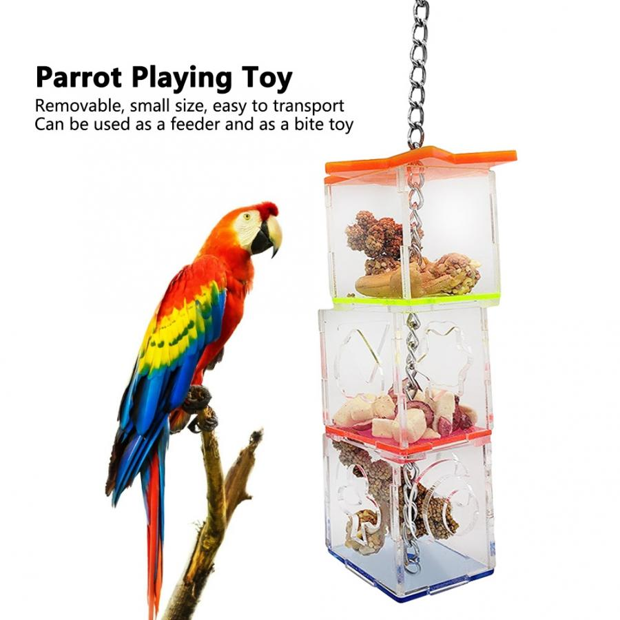 Parrot Hanging Treat Foraging Toy Feeder Acrylic Hexagonal Star Bird Food Box