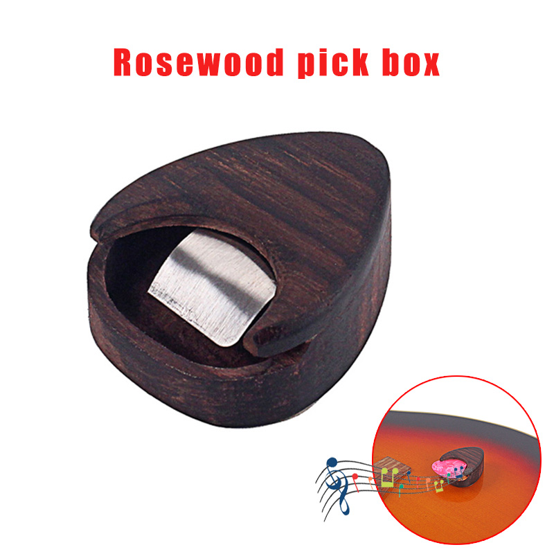Newly Guitar Pick Storage Box Case Wooden Portable Musical Instrument Accessories S66