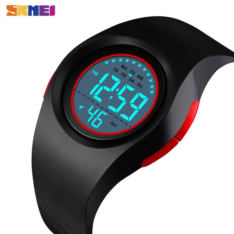 Где купить SKMEI мальчик спортивные цифровые часы секундомер водонепроницаемые детские часы модные светящиеся часы с будильником детские часы Relogio Infantil 1556