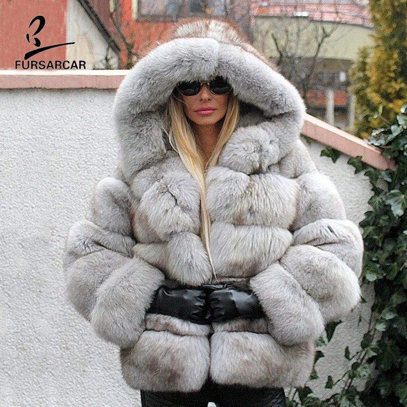 FURSARCAR Gray Real Fox Fur Hooded Winter Coats Women Genuine Natural Fur Thicken Warm Jacket For Female Luxury 2019 New Outfit