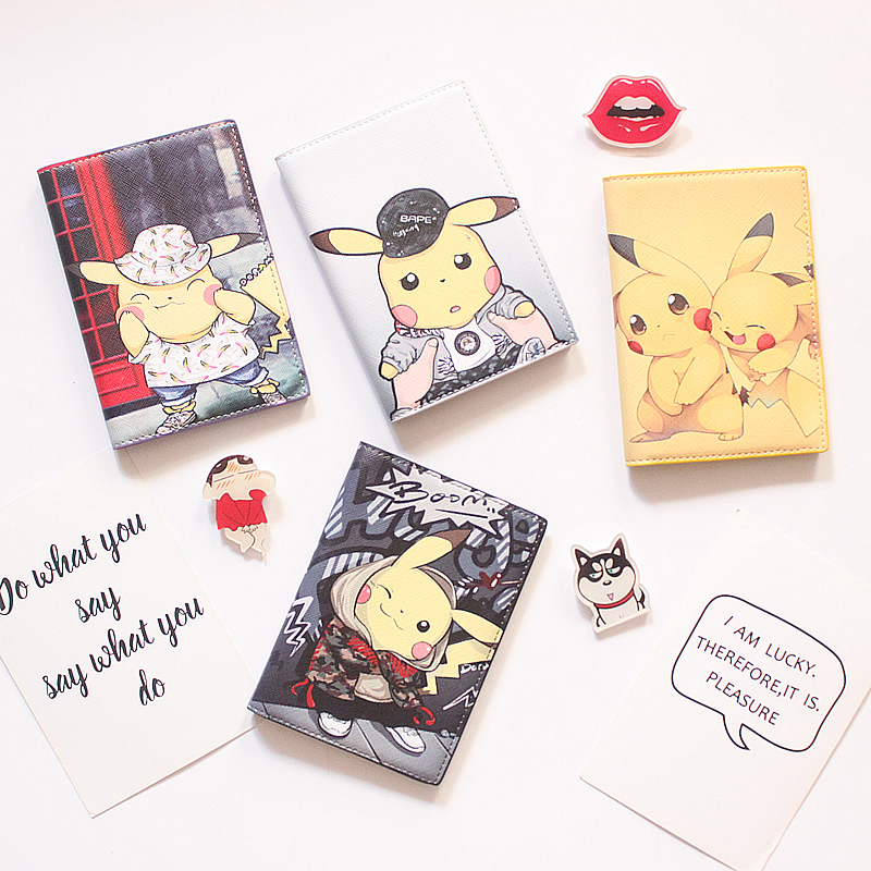 Pikachu Passport Set Ins Simple Cartoon Passport Holder Passport Bag Ticket Holder