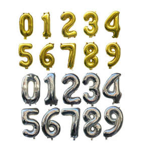 Number Balloon Wedding-Decoration Silve-Foil Happy-Birthday-Party Gold 1pc